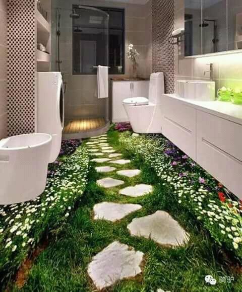 Biasanya kita malas kalau toilet rumah kotor, tapi kalau bernuansa hijau dengan bunga-bunga begini makin betah berlama-lama ya?.