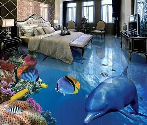 Ada juga desain alam bawah laut lengkap dengan beraneka ragam faunanya.