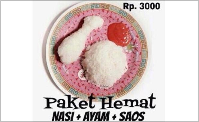 Maksudnya nasi yang bentuknya ayam. Pantes aja murah cuma 3ribu.