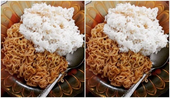 Jangan diejek ya, soalnya emang enak banget makan Indomie pakai nasi kaya gini
