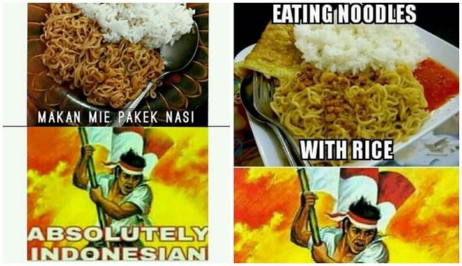 Nasi mengandung karbohidrat, mie instan juga mengandung karbohidrat. Kalau kamu makan mie pakai nasi, selamat datang di Indonesia.
