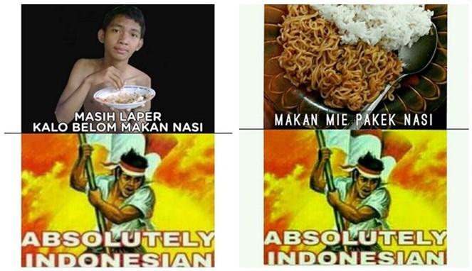 Masi laper kalau belum makan nasi, dan masih belum kenyang kalau makan mie nggak pakai nasi. Gue banget deh!