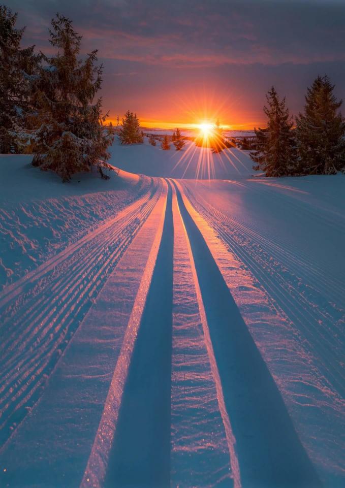 Saat hangatnya matahri terbenam bertemu dengan salju, lalu menyinari jejak jalannya mobil yang menambah keindahan dari foto ini.