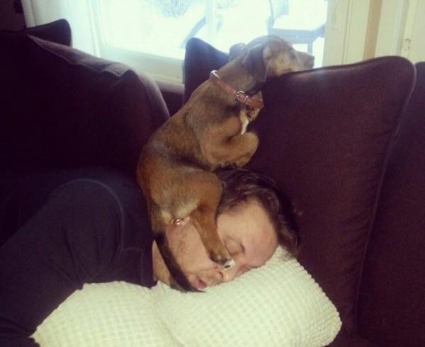 Emang paling enak tidur dengan posisi kaya gini, sayangnya yang tidurin malah kasian.
