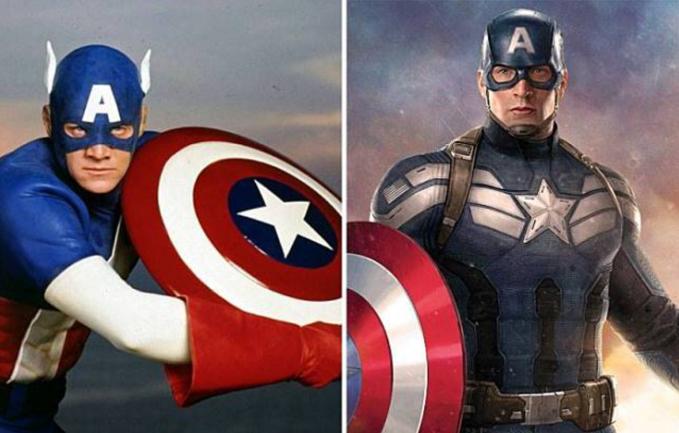 Captain Amerika Lucu banget nggak sih melihat topeng Captain America jaman dulu yang ada sayapnya.