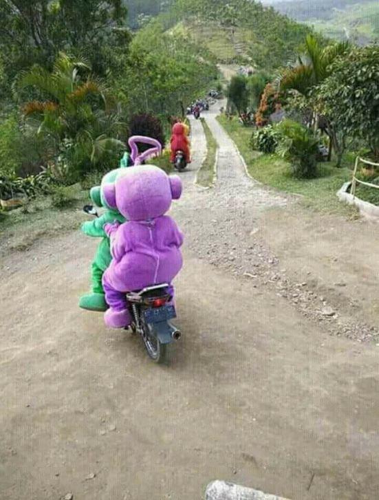 Sudah terpecahkan misterinya. Ternyata ini adalah bukti ketika para anggota Teletubbies berangkat ke bukit nan hijau. Merena naik sepeda motor lho.