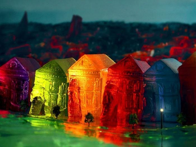 Padahal cuma jeli, bisa dibikin seperti miniatur kota indah di malam hari.