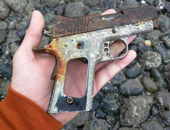 Bangkai pistol yang sudah sudah berkarat ini ditemukan di Taman Discovery, Seattle, Amerika Serikat.
