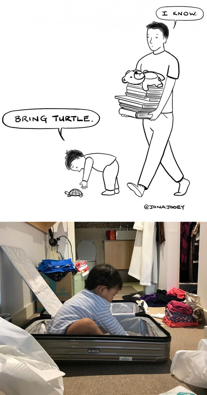 Nggak jarang juga si kecil ingin membantu pekerjaan ayah.