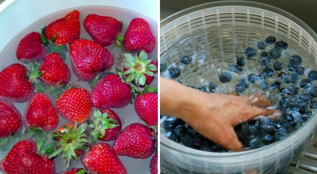 Buah Beri Cara menyimpannya buah beri adalah di cuci dengan air yang di campur dengan air cuka, kemudian di turiskan di baki beralaskan kertas lalu dimasukkan kulkas