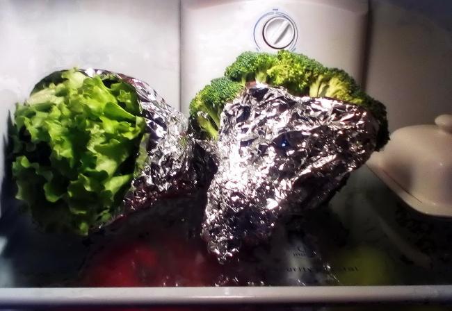 Selada, Brokoli dan Seledri caranya mudah bungkus selada, brokoli dan seledri dengan kertas timah kemudian taruh di dalam kulkas, selada akan tetap segar walaupun beberapa hari didalam kulkas.