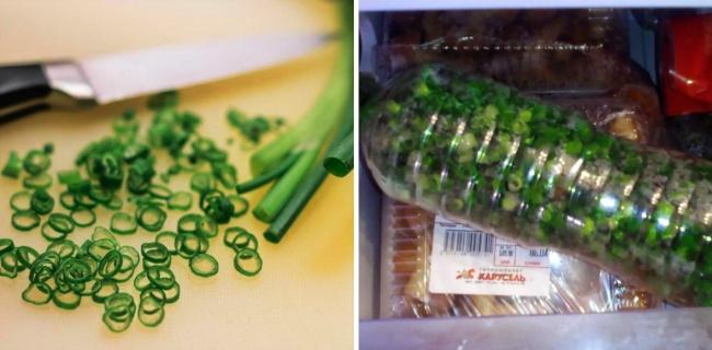 Daun Bawang Menjaga daun bawang tetap segar dengan cara memotong-motong kemudian di masukkan kedalam botol dan di taruh frezer