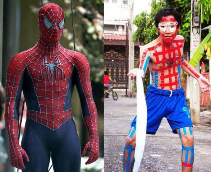 Nah, untuk jadi Spiderman kamu cuma hanya membutuhkan isolasi berwarna merah dan celana kolor warna biru kaya gini.