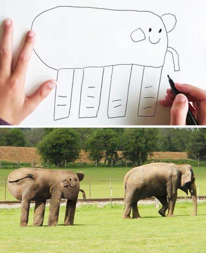 Gini jadinya kalau gambaran anak-anak diwujudkan dalam bentuk nyata. Aneh kan?.