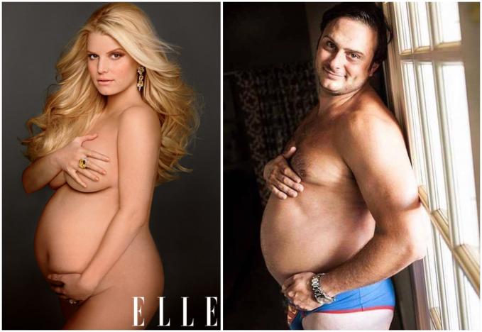 Foto hamil cewek ini ditiru oleh cowok yang perutnya juga besar.