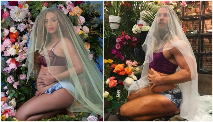 Cowok ini juga meniru maternity penyanyi Beyonce