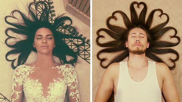 Foto Kendal Jenner saat rambutnya dibentuk hati juga ditiru oleh cowok ini, dan hasilnya kok malah bagusan yang cowok ya.