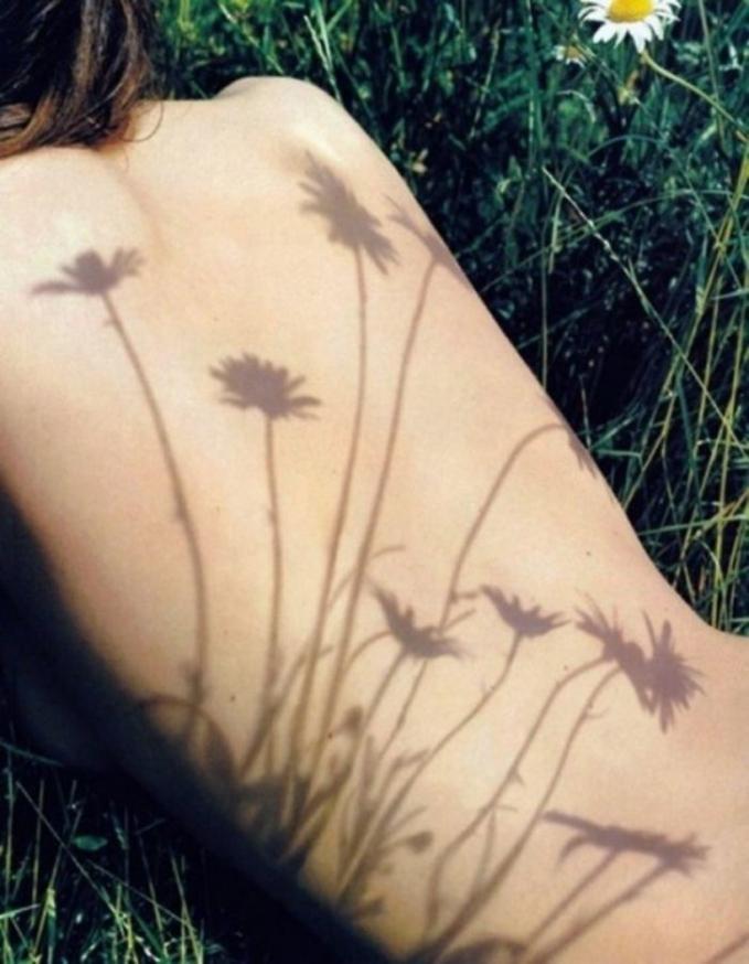Wow..bayangan bunga ini seperti membentuk tato bunga yang indah!
