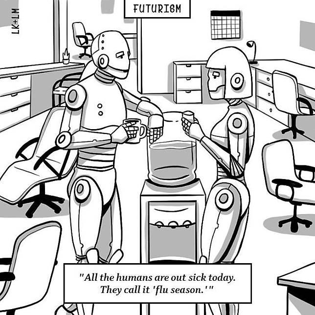 Robot- robot yang diciptakan manusia akan bekerja di kantoran.