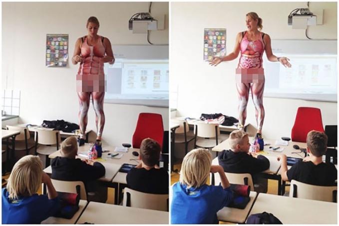 Memakai baju bergambar kerangka manusia Ibu guru yang satu ini sedang mengajarkan tentang anatomi tubuh manusia agar muridnya paham dan langsung dipraktekin ya..saluuut..