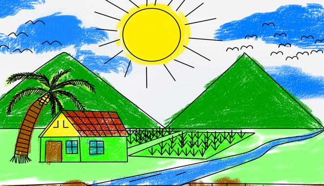 Pasti deh diantara kalian pernah menggambar gunung kayak gini saat disuruh menggambar pemandangan oleh guru.