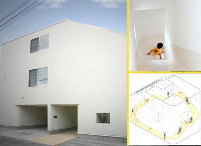 Rumah perosotan Rumah ini ada di Jepang, terdiri dari 3 lantai, ada tangga naik tapi untuk turun harus lewat perosotan.