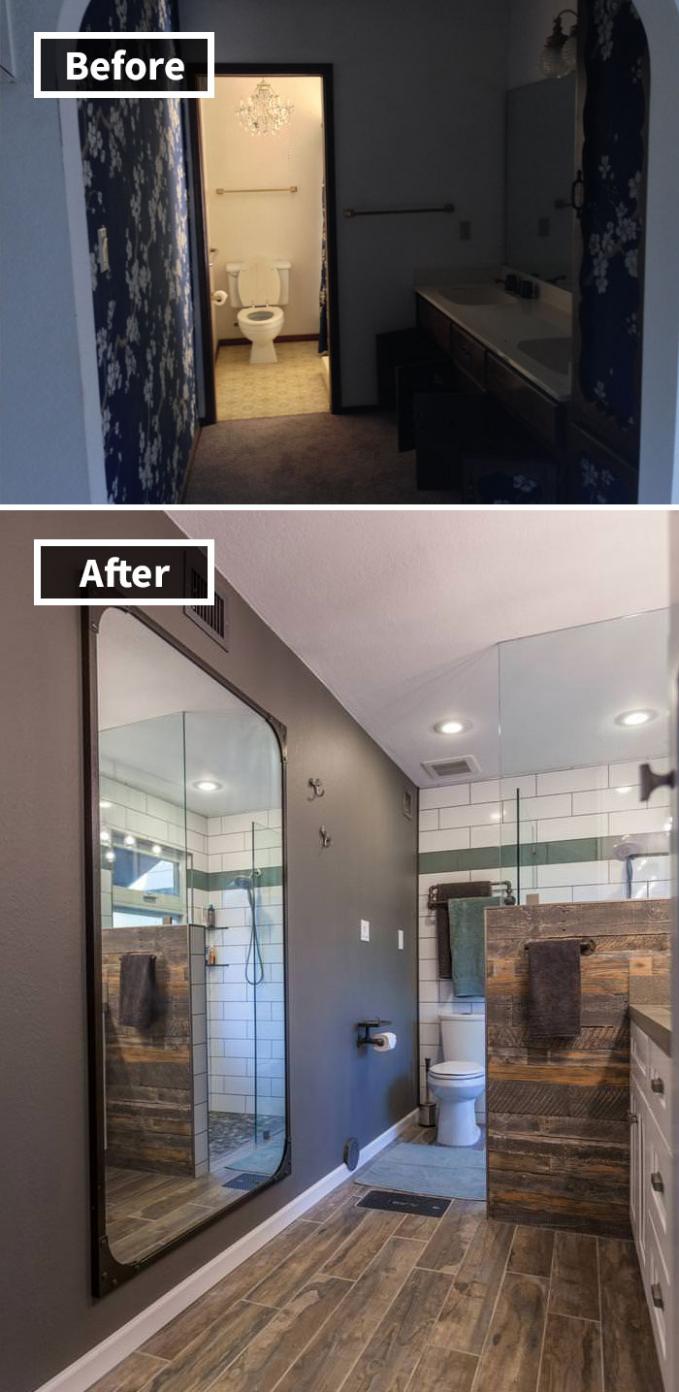 Sebelumnya sih kamar mandinya terkesan horor banget guys, tapi setelah dibersihkan dan ditata ulang jadi makin bikin betah.