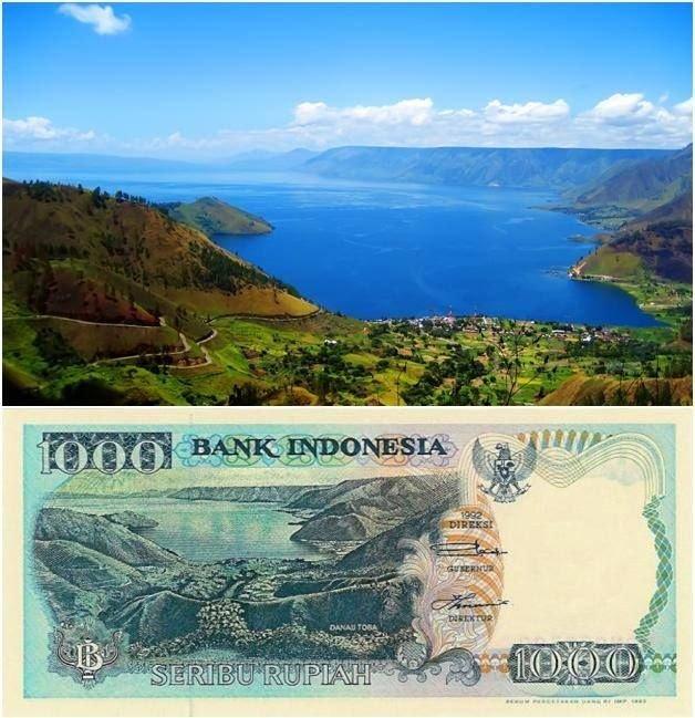 Danau Toba di pwcahan uang kertas Rp.1000