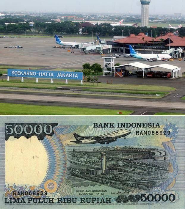 Pemandangan Bandara SoekarnOk Hatta di Uang 50.000.