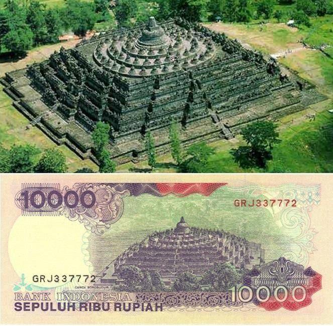 Pemandangan Candi Borobudur di pecahan uang Rp.10.000
