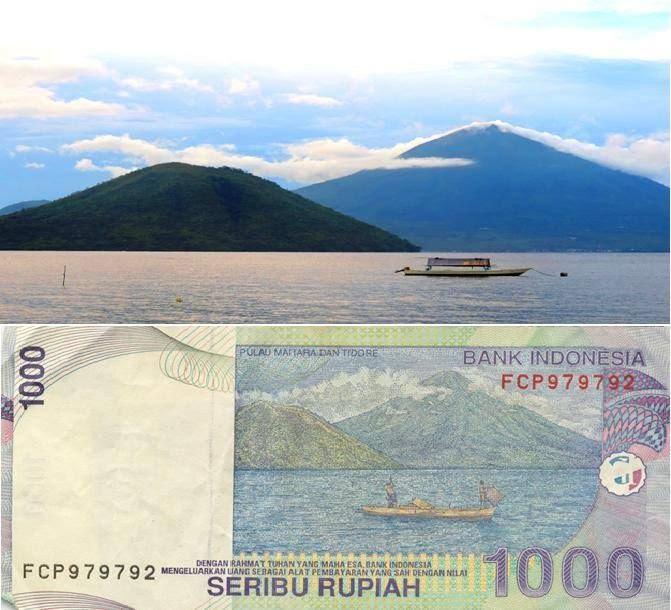 Pemandangan Pulau Tidore di pecahan uang kertas Rp. 1000