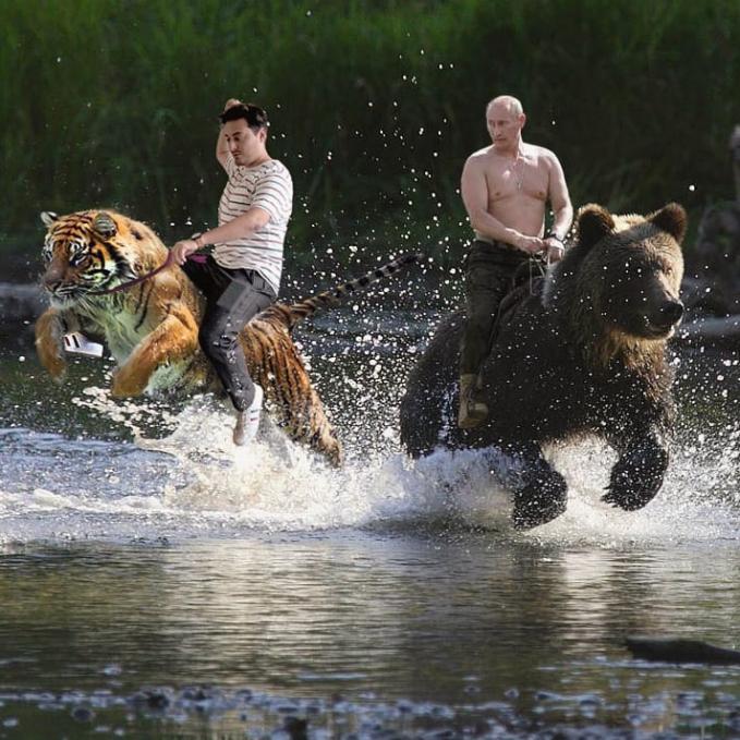 Kalau Putin naik beruang, dia memilih untuk naik macan sob.