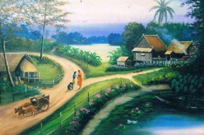Gambarnya melukiskan desa yang bersih tanpa polusi, tentram lengkap dengan sungai, jalan dan sawah yang luas.