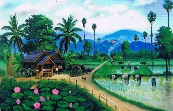 Wow desa yang cantik banget. Rumahnya pas posisinya dan ramai penduduknya. Dekat sawah,gunung dan danau