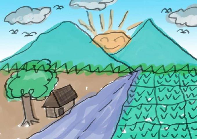 Lha kalau yang ini sering nih, dengan matahari tersenyum, satu rumah dan satu pohon.