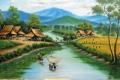 8 Lukisan Dengan Pemandangan Sawah Era 90-an Bikin Kangen Masa Kecil Dulu
