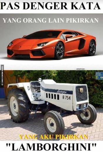 Jangan salah sob, walaupun traktor gini-gini merknya Lamborghini lho.