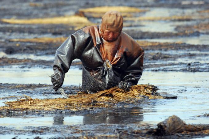 Ini adalah seorang pekerja yang membersihkan tumpahan minyak di Dalian, China. Penyebabnya adalah sebuah pipa minyak yang meledak dan menyebabkan tumpahan minyak besar-besaran. Kejadian ini terjadi di tahun 2010 dan hampir 250 pipa minyak meledak dan semua minyak tumpah di area seluas lebih dari 500 mil persegi.