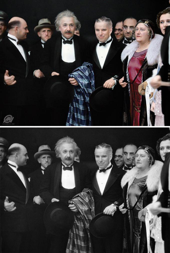 Ketika dua orang berlatar belakang berbeda bersama. Dalam foto ini nampak Einstein dan Charlie Chaplin berjalan bersama dalam sebuah acara.