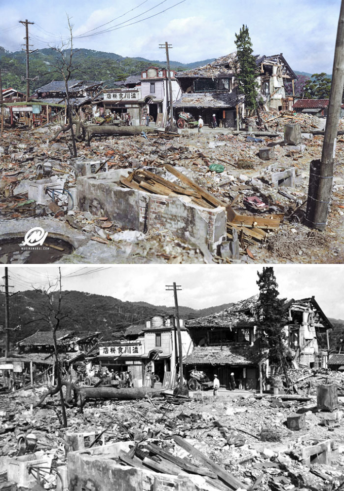 Suasana kota Hiroshima yang hancur lebur setelah di bom oleh Amerika Serikat di tahun 1945 silam.