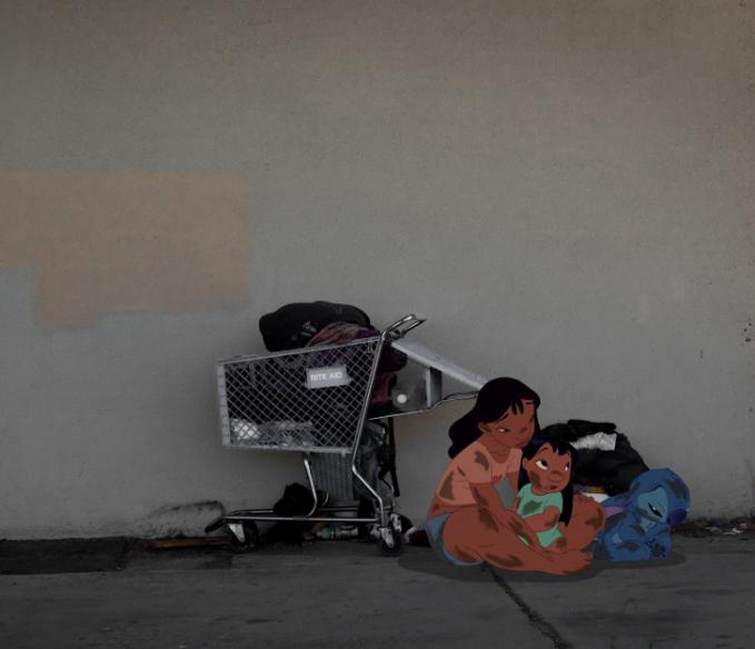 Kehidupan mereka biasanya adem ayem dalam film 'Lilo and Stich' kini dihadapkan dalam dunia nyata dan menjadi keluarga homeless.