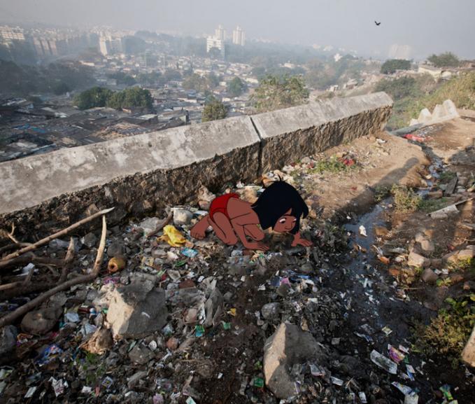 Mowgli harus menerima kenyataan bahwa di kota kini sudah tercemar dan nggak seindah di hutan.