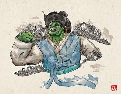 Kini Hulk nggak lagi setengah telanjang, karena memakai pakaian tertutup ala Korea. Jadi nggak masuk angin tuh.
