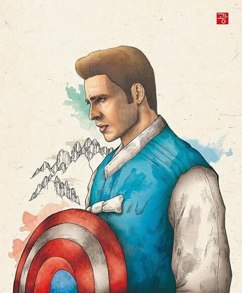 Captain America kalau kayak gini udah mirip seperti pangeran-pangeran dalam film klasik Korea belum nih.