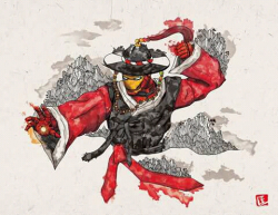 Ilustrasi Para Superhero dalam Balutan Busana Tradisional Korea
