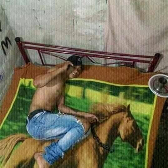Nggak perlu mimpi untuk merasakan tidur sambil berkuda. Dan pria ini sudah membuktikannya.