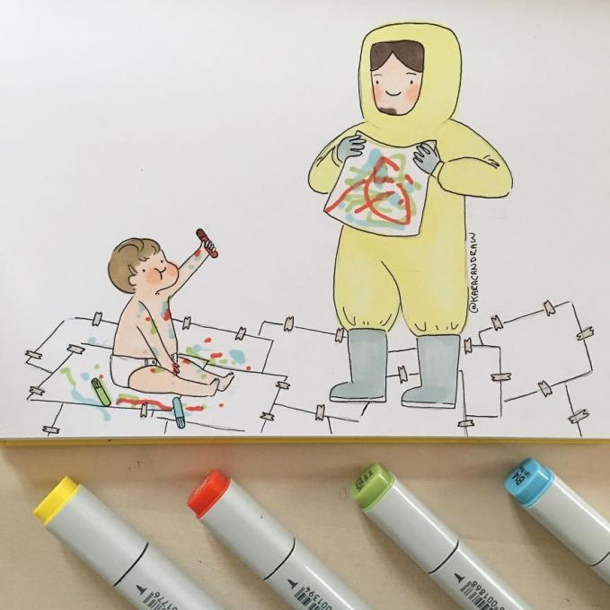 Ibu pun akan melakukan apa saja agar sang buah hati tetap ceria, termasuk berpakaian unik kayak gini guys.