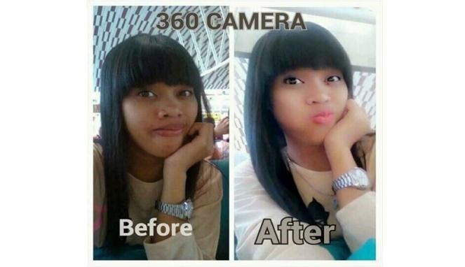 Selain make up yang nggak kalah jahat adalah efek dari kamera 360 lho gengs.