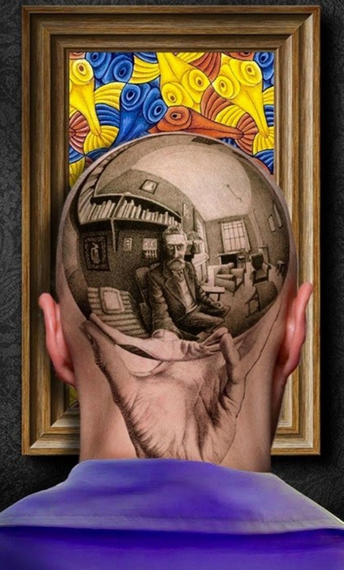 Mental baja banget orangnya, bikin tato di kepalanya dengan motif gambar yang nampak realistis kayak gitu.