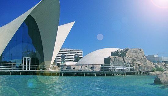 LOceanografic (Spanyol) Sebagai akuarium terbesar dan terluas di Benua Biru LOceanografic dilengkapi tangki berisi 1,85 juta galon air. Aquarium ini terletak di dalam Kota Seni dan Ilmu Pengetahuan atauCity of Arts and Sciences. Yang merupakan nama sebuah aula pameran di Vilencia Spanyol. Sekitar 45.000 biota laut terdapat dalam aquarium ini berasal dari Antartika dan Mediterania. Bangunan aquarium ini juga mengagumkan dengan arsitektur modern.